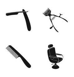 A razor a mechanical hair clipper an armchair vector
