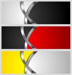 Abstract banners with metal waves vector image