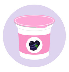 blackberry yogurt plastic cup milk cream product vector image vector image