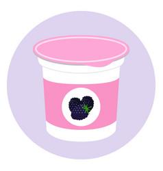 Blackberry yogurt plastic cup milk cream product vector