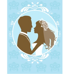 Bride and groom in frame vector image