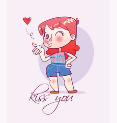 Cartoon happy girl sends an air kiss vector