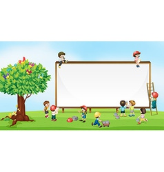 Children and sign vector image vector image