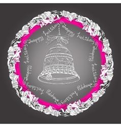 Christmas mandala with bells handwritten words vector image vector image