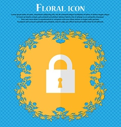 closed lock Floral flat design on a blue abstract vector image