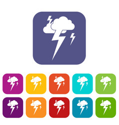 Cloud and lightning icons set vector