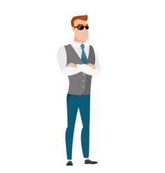 Confident businessman in sunglasses vector