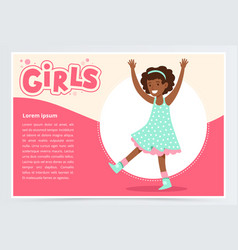 cute happy african girl smiling girls banner flat vector image vector image
