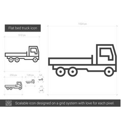 Flat bed truck line icon vector