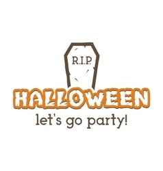 Halloween rip party label template with tombstone vector