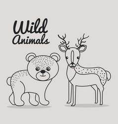 Hand drawn bear and deer uncolored wild animals vector