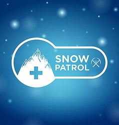 Logotype snow patrol on blue background vector