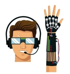 Man wear vr reality glasses wired glove fiction vector