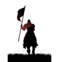medieval knight on horse carrying a flag vector image vector image