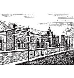 Old brick building vector