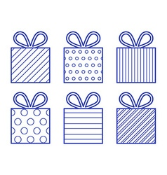 Outline style gift boxes set vector