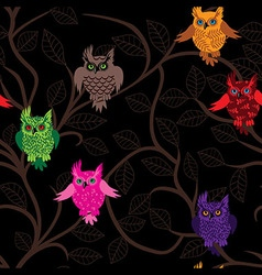 Owl bird seamless funny background with cartoon vector image vector image