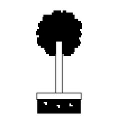 Pixel tree grass nature ecology vector