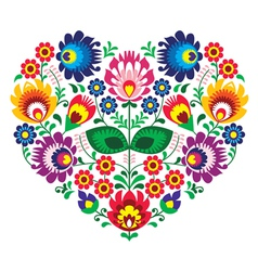 Polish olk art art heart embroidery with flowers vector image