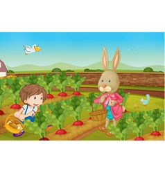 Rabbit picking veggies vector image vector image