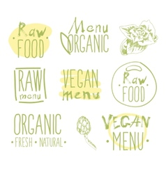 Raw vegan food calligraphy vector