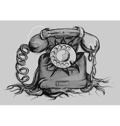 Retro rotary dial telephone vector