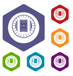 round stadium top view icons set vector image
