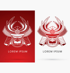 Samurai mask head vector