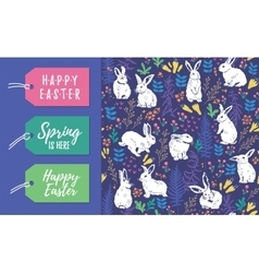 set of Easter tags and seamless pattern vector image vector image