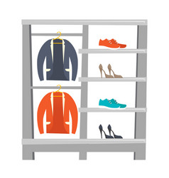 shelves with clothes and shoes vector image