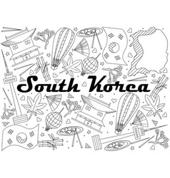 south korea line art design vector image