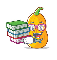 Student with book butternut squash mascot cartoon vector