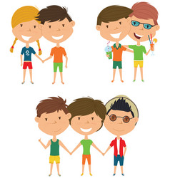 Summer people standing and holding hands vector