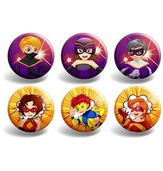 Superhero on round badges vector