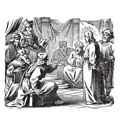 The sanhedrin trial of jesus - he is taken before vector