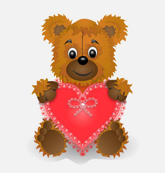 toy bear holding in the paws of a heart postcard vector image