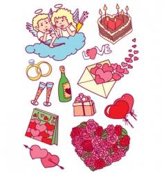 Valentines doodles vector