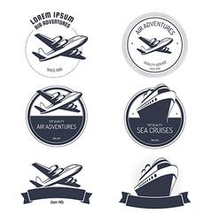 Vintage air and cruise tours labels and badges vector image vector image