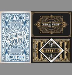 vintage cards set vector image vector image