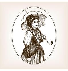 Vintage lady sketch style vector image