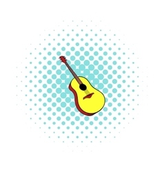 Wooden acoustic guitar icon comics style vector