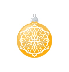 Yellow Ball with Snowflake Isolated on White vector image