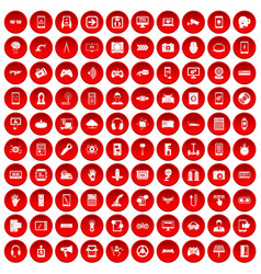 100 gadget icons set red vector