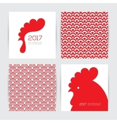 New year 2017 cards and seamless chinese textures vector