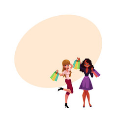 Two happy women girls friends with shopping bags vector