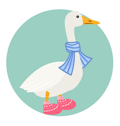 Cartoon duck in scarf isolated vector