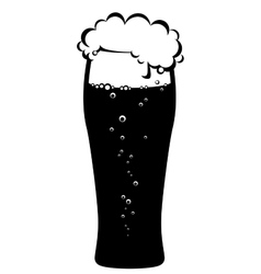 Black glass of beer vector