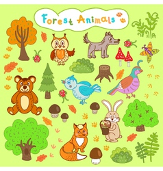 Children is drawings forest animals vector