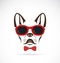 images of dog bulldog wearing sunglasses vector image