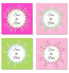 Set of save the date hand-drawn branches colorful vector